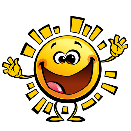 Shining yellow cute smiling sun cartoon character in happy welcome gesture Illustration