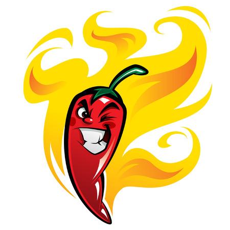 Carácter mexicano, chile, pimienta de dibujos animados muy candente en el fuego sonriendo y haciendo una mueca retorcida
