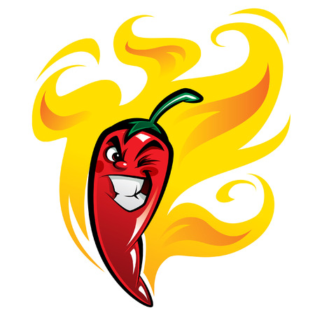 chilli: Red extremely hot mexican cartoon chilli pepper character on fire smiling and making a devious face