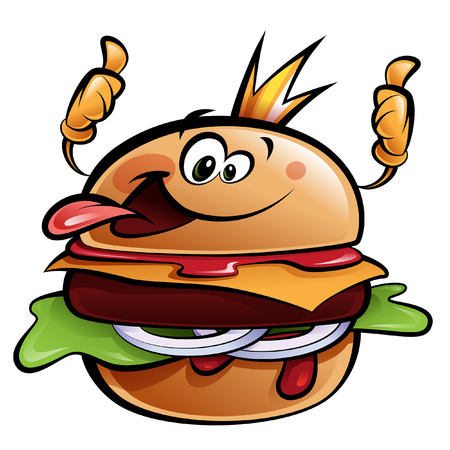 bun: Cartoon cheese burger making a thumbs up gesture wearing a crown and sticking out tongue Illustration