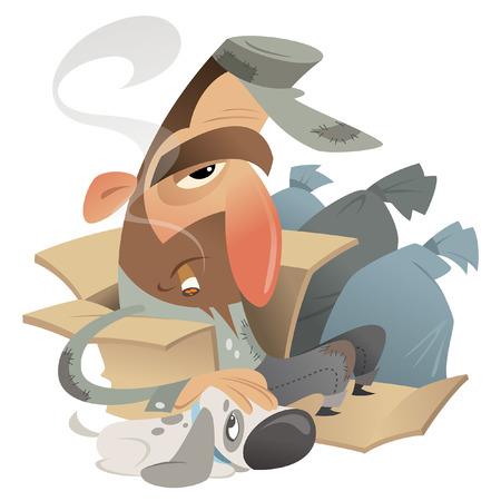 Cartoon homeless man with his dog friend sitting in a carton near trash bags