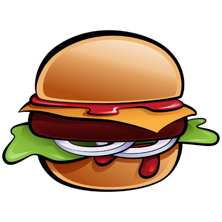 cheese burger: Cartoon glossy vector cheeseburger with onion lettuce and sauces in bun Illustration