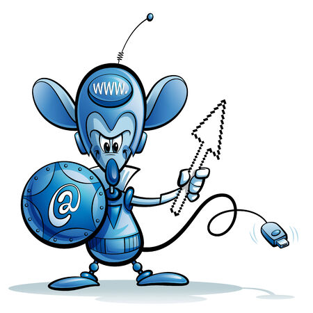 computer virus: Cartoon character of online web browsing and email mouse security guardian antivirus and firewall concept Stock Photo