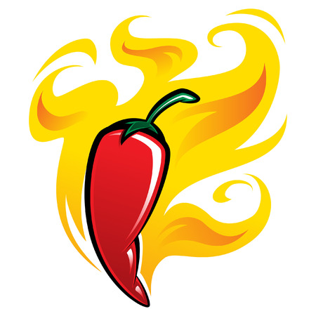 Extremely super hot red chilli paprika pepper surrounded by flames
