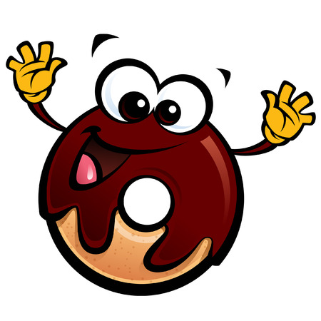 Cartoon happy smiling donut character with chocolate glace making a gesture