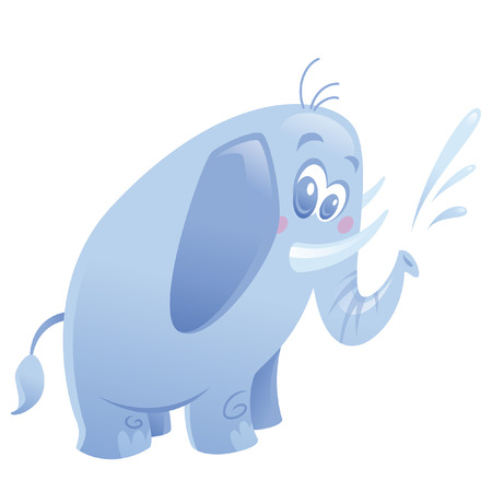 spitting: Cartoon friendly blue elephant with small tusks spitting water