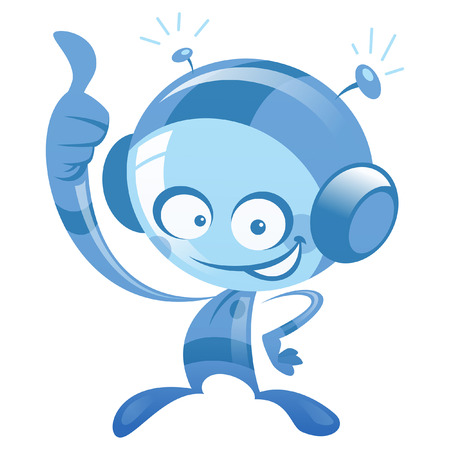 spacesuit: Happy cartoon alien spaceman with spacesuit smiling and making thumbs up gesture