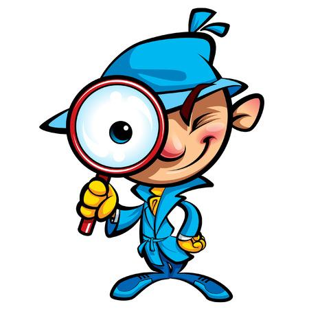 Cartoon detective intelligente nelle indagini con il cappotto blu guardando attraverso il grande lente di ingrandimento sorridente e chiudendo un occhio Vettoriali