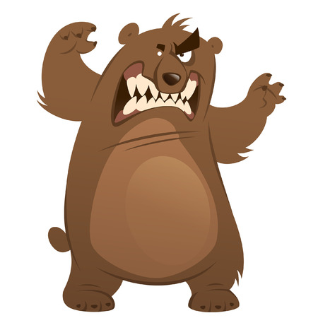 cartoon bear: Funny aggressive cartoon brown grizzly bear attacking by standing with open mouth and showing teeth