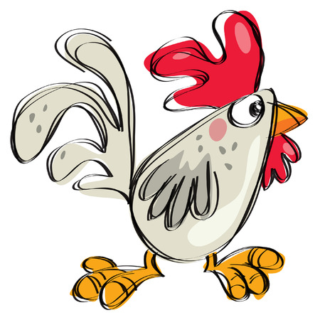 Cartoon baby chicken white any grey in a naif childish drawing style Vettoriali