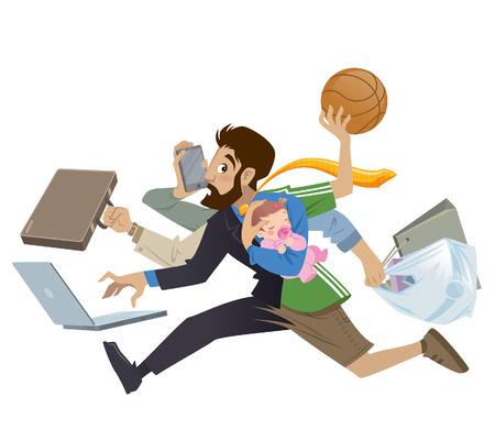 Cartoon super druk bezet man en vader multitasken doen vele werken lopen naar het kantoor te winkelen spelen basketbal werken en praten over de telefoon tijdens zijn babymeisje slapen