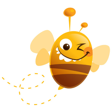 Cartoon cute bee fly with funny antennas closing one eye and making a face Ilustração
