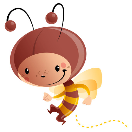 Cartoon vector illustration with cheerful smiling child in funny yellow and brown butterfly suit with antennas and wings