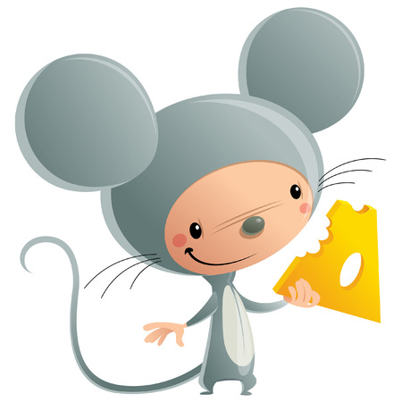 Cartoon vector illustration with cheerful smiling kid in funny grey mice suit holding a piece of cheese