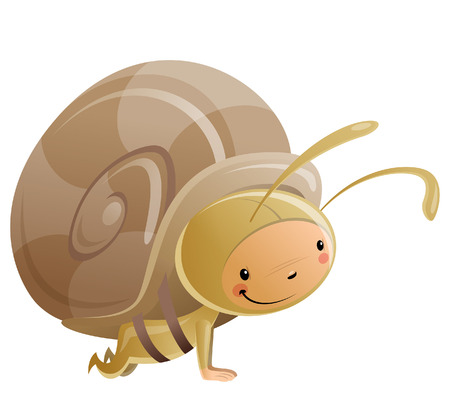 creeps: Cartoon vector illustration with cheerful smiling kid crawl in funny snail suit with shell and antennas Illustration