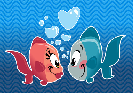 Cartoon cute fish couple in love with heart bubbles under the sea Vector