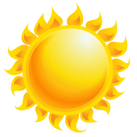 Yellow and orange cartoon vector sun shining as weather climate and temperature symbol  Ilustracja