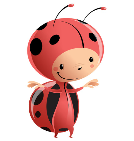 little insect: Cartoon vector illustration with child in funny red lady bug suit with antennas and black dots pattern