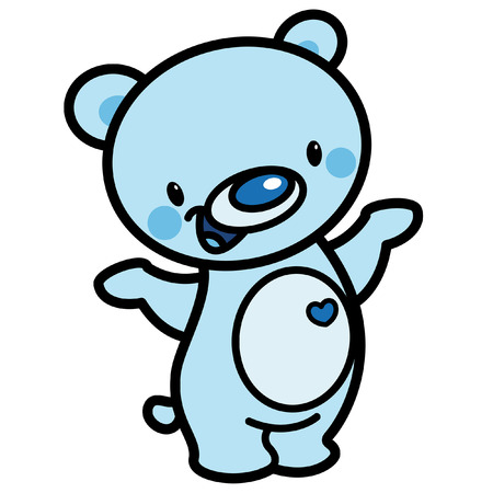 Cartoon vector cute cyan cheerful adorable teddy bear with heart isolated in white background