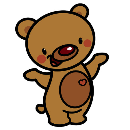 grizzly: Cartoon vector cute brown cheerful adorable teddy bear with heart isolated in white background