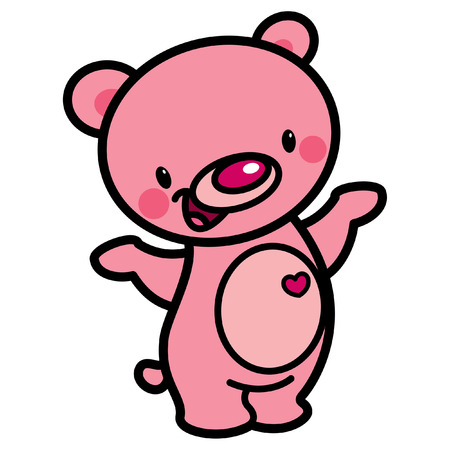 Cartoon vector cute pink cheerful adorable teddy bear with heart isolated in white background