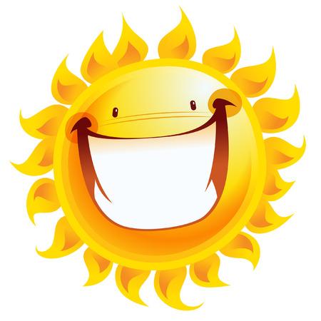 天気の良い記号温度として笑顔の太陽の漫画のキャラクターを興奮して輝く黄色