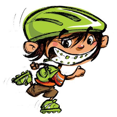 Niño de dibujos animados excitado con aparatos dentales y gran sonrisa en los deportes de patinaje con patines y llevando una mochila