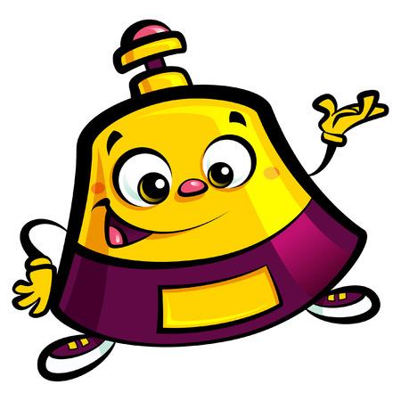 幸せな漫画フロント ベル ヘルプ デスク文字居心地の良い作りとジェスチャーを歓迎の笑顔