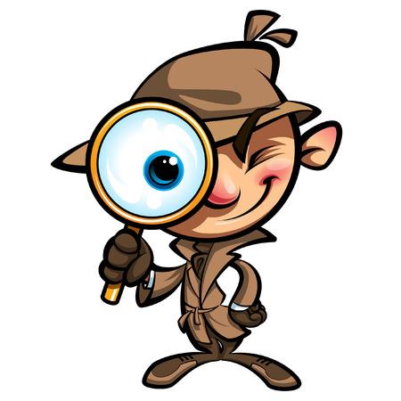 Cartoon détective intelligent dans l'enquête avec le manteau brun en regardant à travers grosse loupe souriant et fermant un ?il