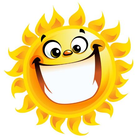 良い天気記号温度として笑顔太陽の漫画のキャラクターの励起輝く黄色  イラスト・ベクター素材