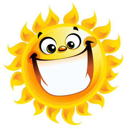 big smile: Shining yellow excited smiling sun cartoon character as good weather sign temperature