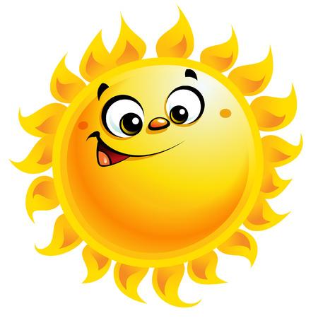 sol caricatura: Luminoso amarillo sonriente personaje sol de dibujos animados como temperatura signo tiempo Vectores