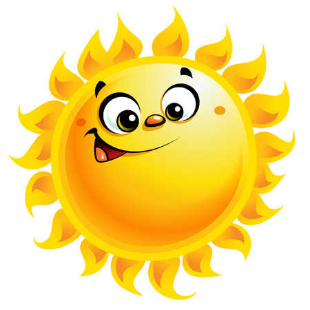 cartoon summer: Shining yellow smiling sun cartoon character as weather sign temperature