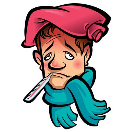 高温緑のスカーフと彼の頭の上の赤い氷バッグを示す彼の口で温度計を持つ患者悲しい男