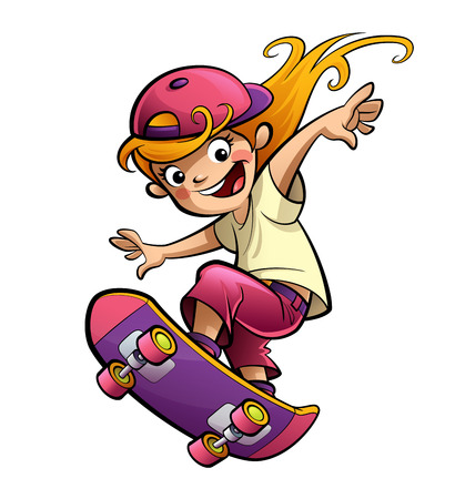lightsome: Cartoon blonde girl doing sports with skateboard dressed with pink purple and red clothes and cap