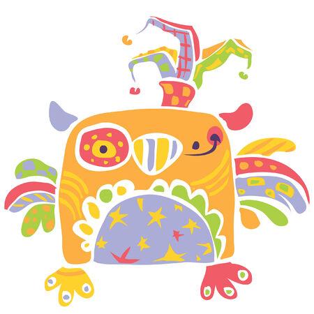 子供の図面のグラフィック スタイルのカーニバル気分で、ピエロ帽子のカラフルな面白い赤ちゃんフクロウ