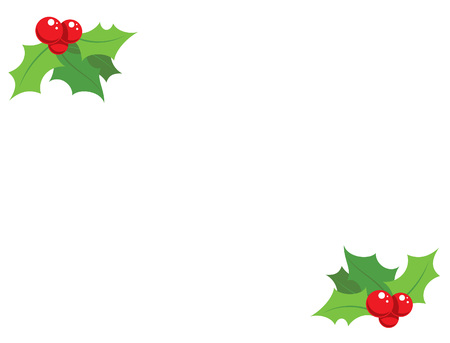 Cartoon simple holli decorative red and green ornaments greeting card design Vector