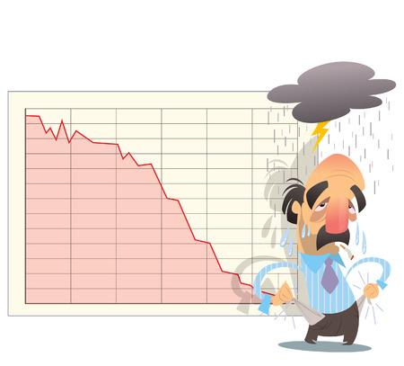 Vector illustration affichage bourse descend et un homme d'affaires dévasté par un nuage gris pleut sur sa tête Vecteurs
