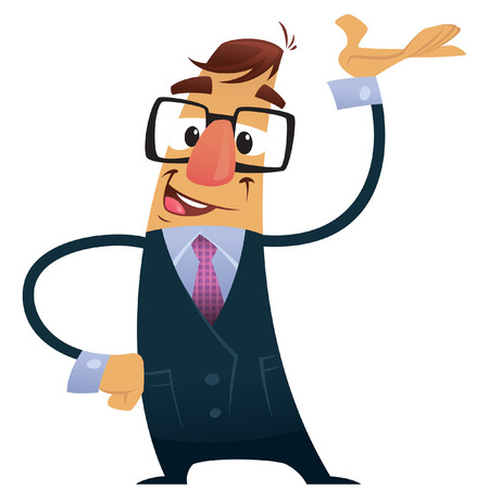 fullbody: Hombre de negocios con traje, corbata y gafas de presentaci�n haciendo un gesto que muestra con la mano mientras sonre�a Vectores