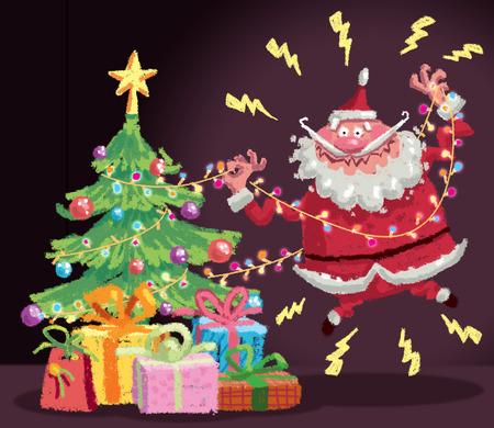 電気の木のライトとホームセキュリティからのクリスマスの安全に関するコンセプトイラスト