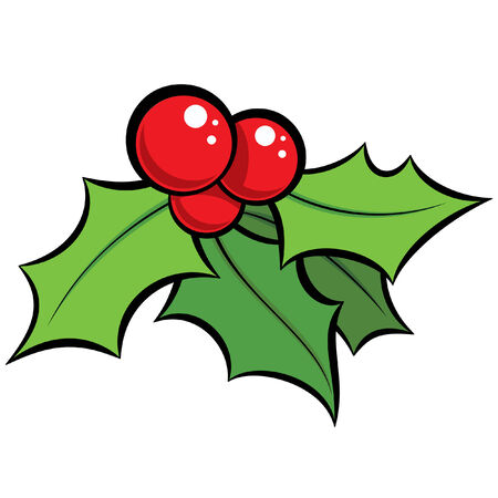 red berries: Cartoon vector red and green holli decorative ornament with black outlines