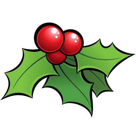 漫画は、黒で縁取られた赤と緑のホーリー ヤドリギの装飾的なクリスマスの飾りをベクトルします。  イラスト・ベクター素材