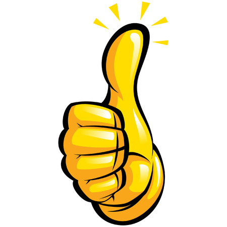 Cartoon hand with yellow glove in a thumb up gesture with black outlines