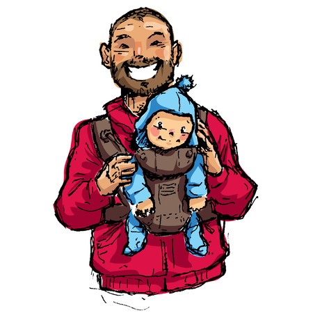 Cartoon vector family illustration with dad walking with his baby son in a baby pouch having some quality time Ilustração
