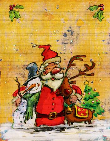 サンタ雪の男とトナカイを抱いて、ヤドリギ、クリスマス ツリーとバック グラウンドでホリと愛の概念のクリスマス イラスト 写真素材
