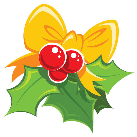 shinning leaves: Cartoon simple mistletoe red and green design element with yellow bowtie