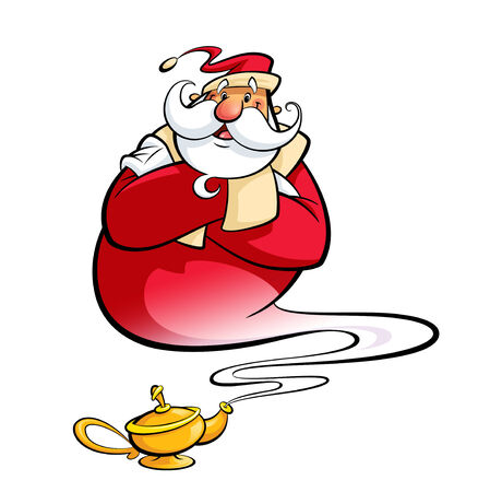 Happy smiling cartoon Santa Claus coming excited out of a magic oil lamp making a genie gesture as christmas spirit to hall wishes come true
