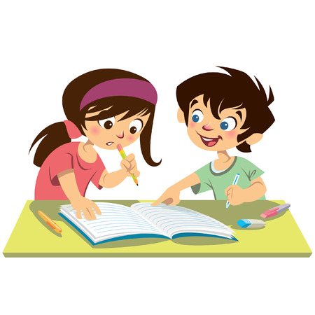 Children pupils reading together while boy explains to girl pointing at their notebook