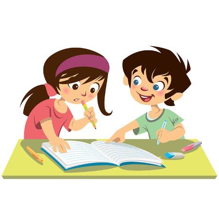 deberes: Ni�os alumnos leen juntos mientras chico explica a chica apuntando a su port�til Vectores