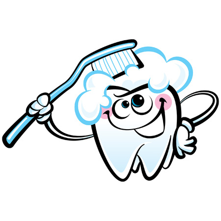 Healthy cute cartoon tooth character smiling happily holding a dental tooth brush and brushing itself Vector
